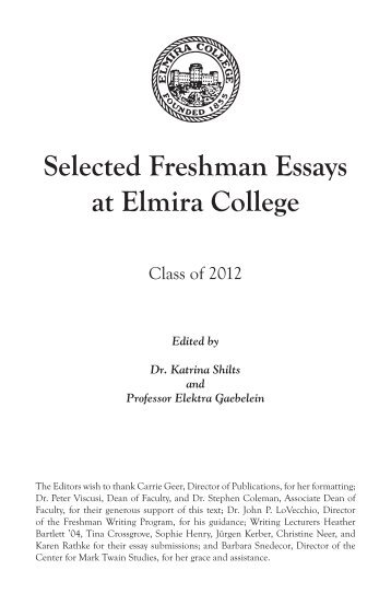 freshman thesis This contains all the required information if your prof likes to grade anonymously, make sure not to include your name an introduction: again, nothing fancy tell the reader what the paper is about provide a roadmap and a statement of your thesis some background: this can be hard only.