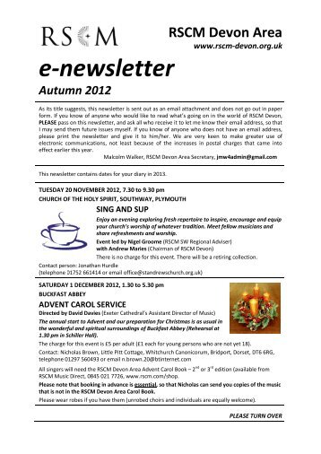 e-newsletter - RSCM DEVON