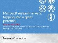 Microsoft Research in Asia - JRC