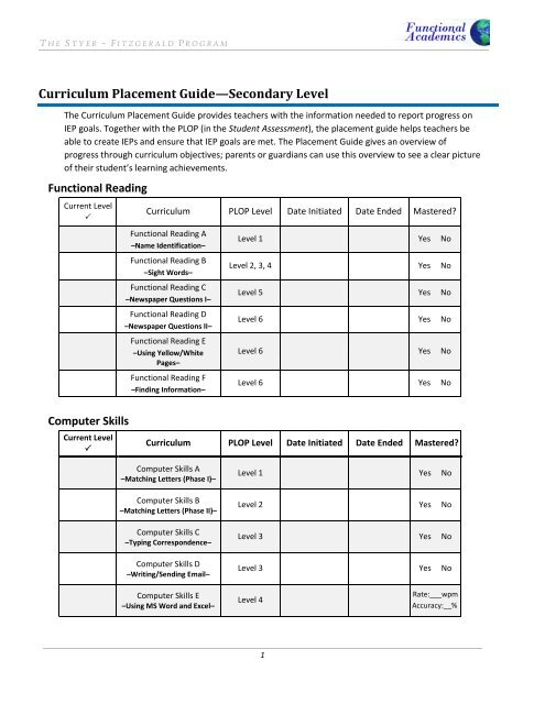 Curriculum Placement Guide—Secondary Level - Styer-Fitzgerald
