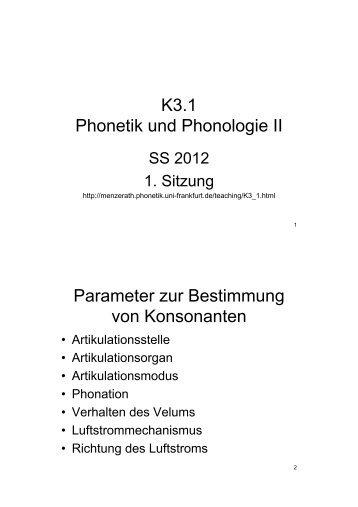 K3.1 Phonetik und Phonologie II Parameter zur Bestimmung von ...