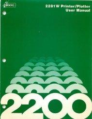 2281W Printer/Plotter User Manual - Wang 2200