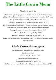 Food Menu - Little Crown Colchester
