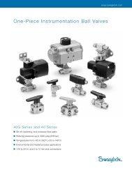 One-Piece Instrumentation Ball Valves, 40G Series and ... - Swagelok