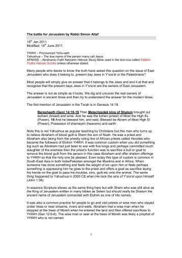 The battle for Jerusalem by Rabbi Simon Altaf 18th ... - African-Israel