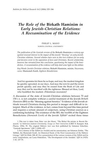 The Role of the Birkath Haminim - Institute for Biblical Research