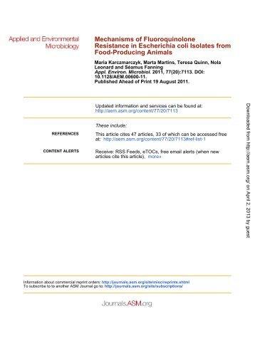 Mechanisms of Fluoroquinolone Resistance in Escherichia coli ...