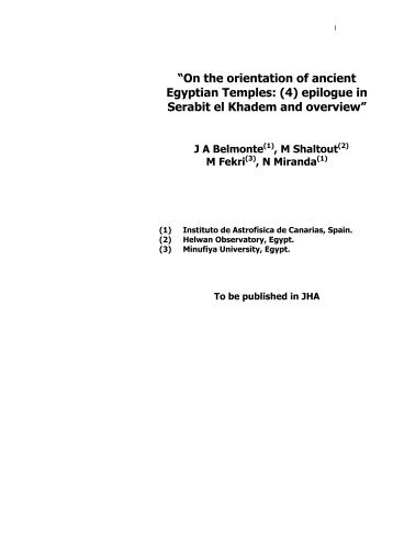 """On the orientation of ancient Egyptian Temples: (4 ... - M-shaltout.com"