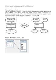 Primjeri i zadaci uz dijagrame objekti veze i design upita 1. Zadan je ...