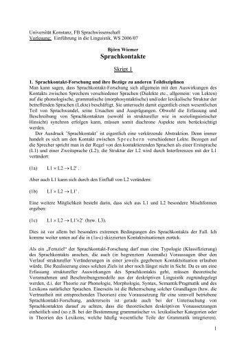 Sprachkontakt: Pidgin und Kreole - Universität Konstanz