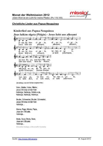 13 Liedtexte Pidgin-Deutsch - Missio
