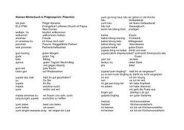 Kleines Wörterbuch in Pidgin(sprich: Pidschin) tok pisin Pidgin ...
