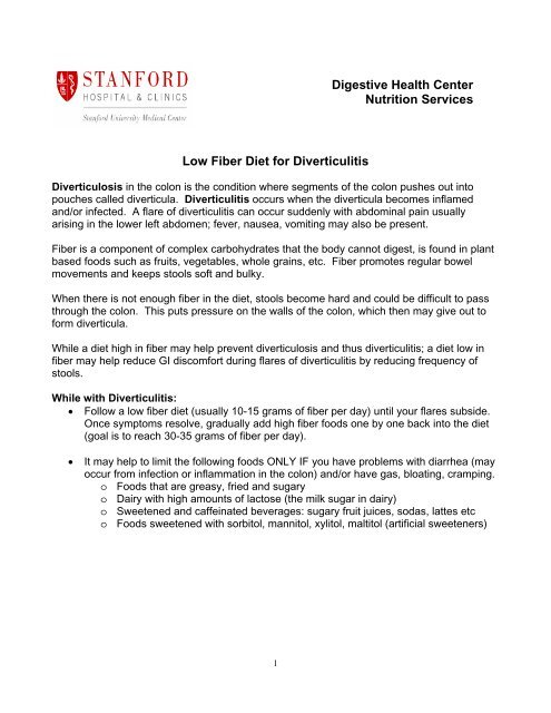 Digestive Health Center Nutrition Services Low Fiber Diet