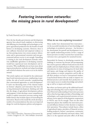 Fostering innovation networks: the missing piece in rural ... - HAFL