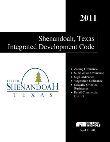 Shenandoah, Texas Chapter 102, Zoning Ordinance - E-Gov Link