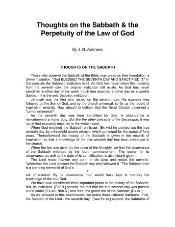 Thoughts on the Sabbath & the Perpetuity of the Law of God