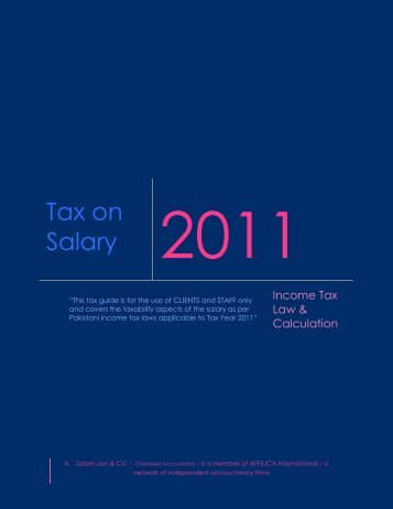 Tax on Salary - A. Salam Jan & Co.