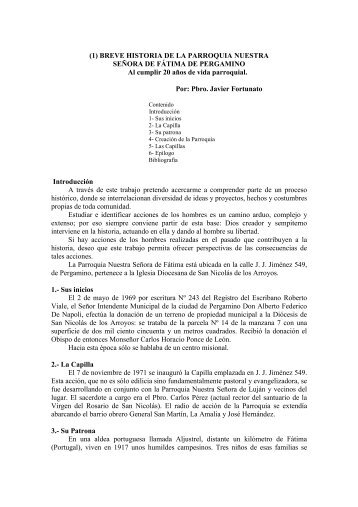 (1) BREVE HISTORIA DE LA PARROQUIA NUESTRA SEÑORA DE ...