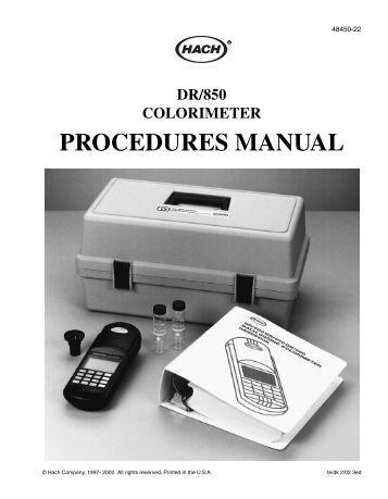 Hach series 5000 Manual