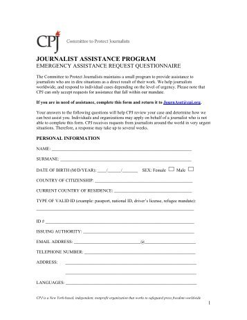 CPJ's assistance request form - Committee to Protect Journalists