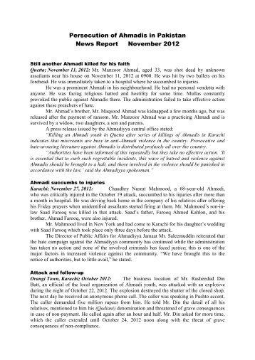 November - Persecution of Ahmadiyya Muslim Community