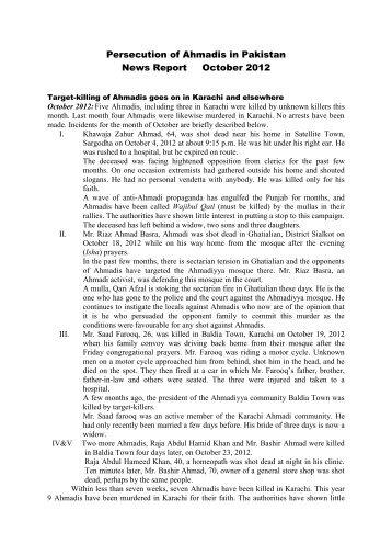 October - Persecution of Ahmadiyya Muslim Community