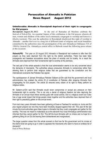 August - Persecution of Ahmadiyya Muslim Community