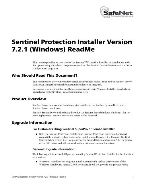 Sentinel Protection Installer Version 7 2 0 (Windows) ReadMe