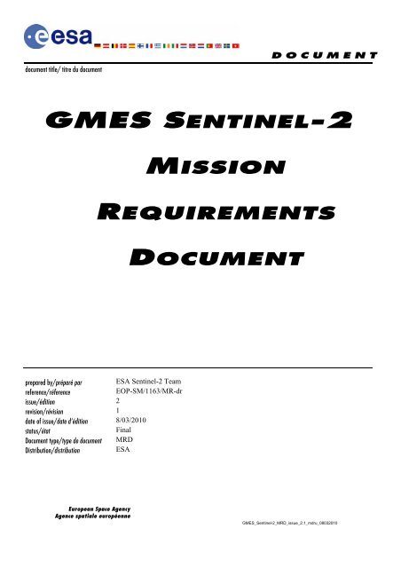 GMES Sentinel-2 Mission Requirements Document - Esa