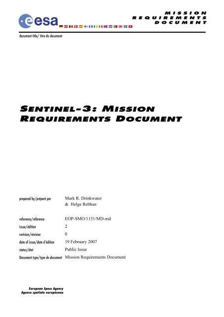Sentinel-3 Mission Requirements Document - Esa