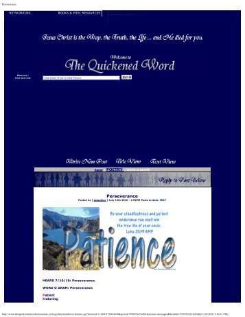 Perseverance - The Quickened Word School