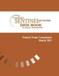 Consumer Sentinel Network Data Book for January - December 2010
