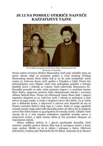 je li na pomolu otkriće najveće kazzafijeve tajne - Islamska ...