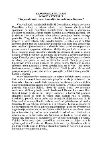 reagiranja na tajni pokop kazzafija - Islamska zajednica u Hrvatskoj