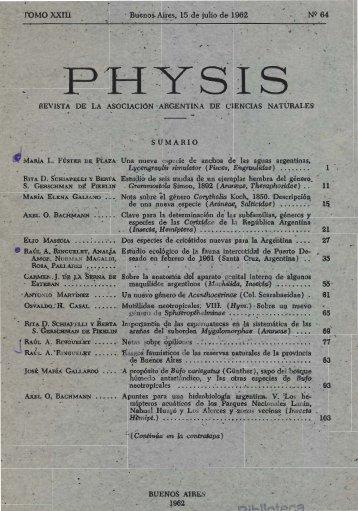 revista dela asóciacign ¡argentina dé ciencias naturales