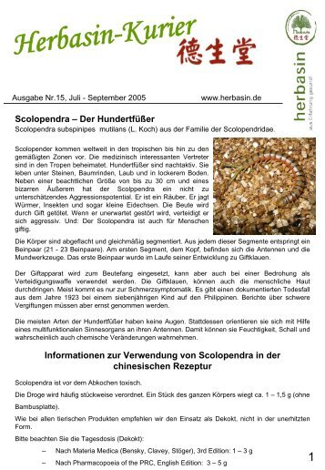 Ausgabe Nr. 15, September 2005 - HerbaSinica Hilsdorf GmbH