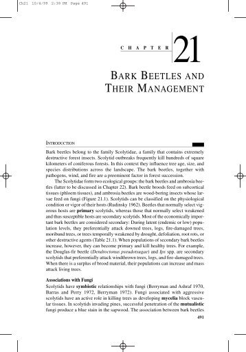 BARK BEETLES AND THEIR MANAGEMENT - School of ...