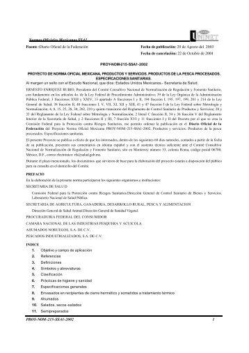 Normas Oficiales Mexicanas SSA1 PROY-NOM-215-SSA1-2002 1 ...