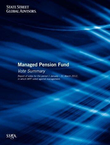 SSgA Managed Pension Fund Votes Against Management, Q1 2012