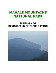 Mahale Mountains National Park | Summary of Resource Base