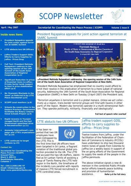 Newsletter March-April (2) - Peace in Sri Lanka