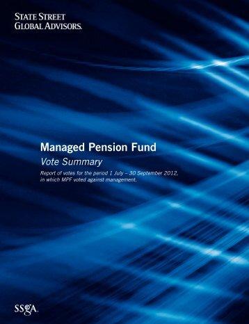 SSgA Managed Pension Fund Votes Against Management, Q3 2012