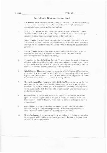 Worksheets Angular And Linear Velocity Worksheet Answer Key linear and angular velocity2 notebook speed ws0001 bvsd