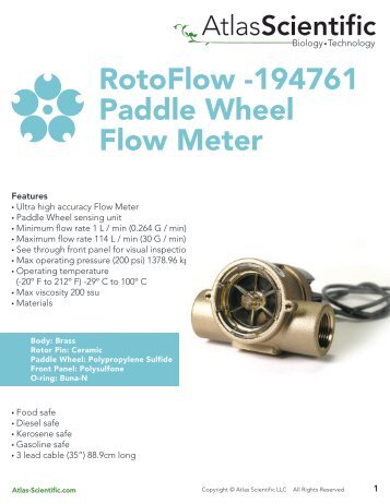 RotoFlow -194761 Paddle Wheel Flow Meter - Atlas Scientific