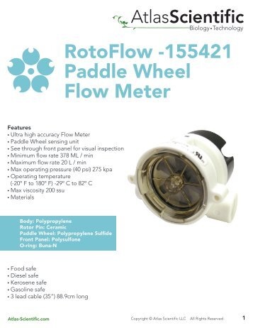 RotoFlow -155421 Paddle Wheel Flow Meter - Atlas Scientific