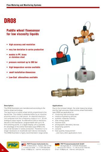 Paddle wheel flowsensor for low viscosity liquids - PKP