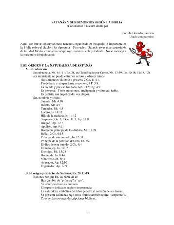 SATANÁS Y SUS DEMONIOS SEGÚN LA BIBLIA (Conociendo a ...