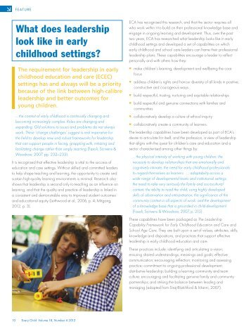What does leadership look like in early childhood settings?