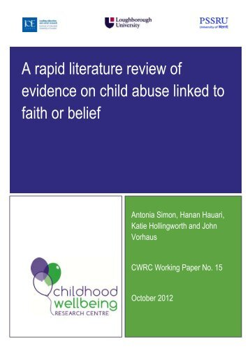 A rapid literature review of evidence on child abuse linked to faith or ...