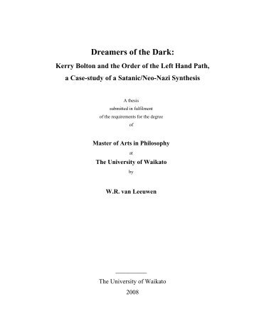 Dreamers of the Dark: - Research Commons - The University of ...